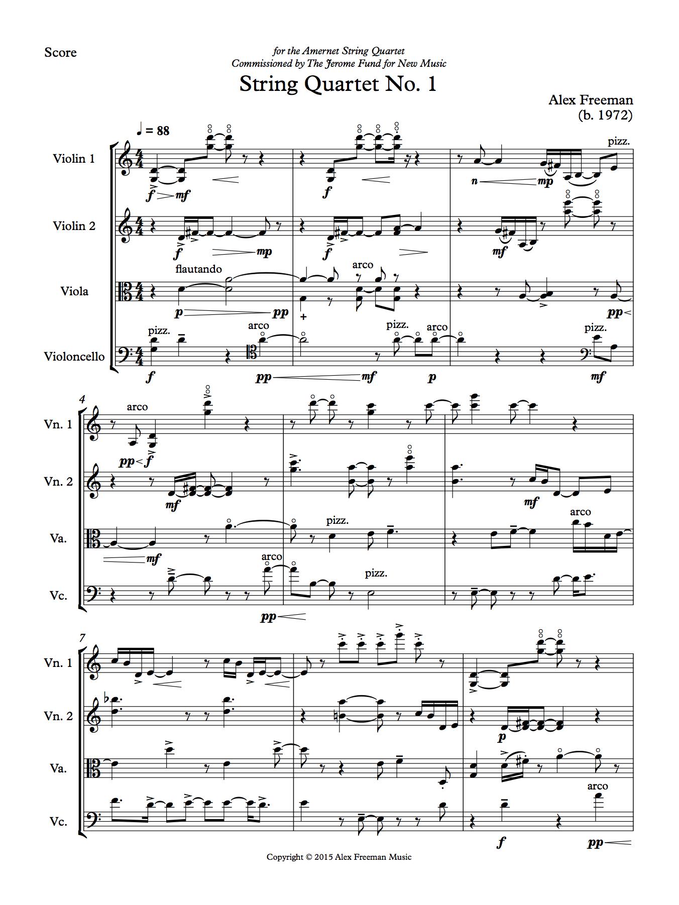 string quartet Score page 1
